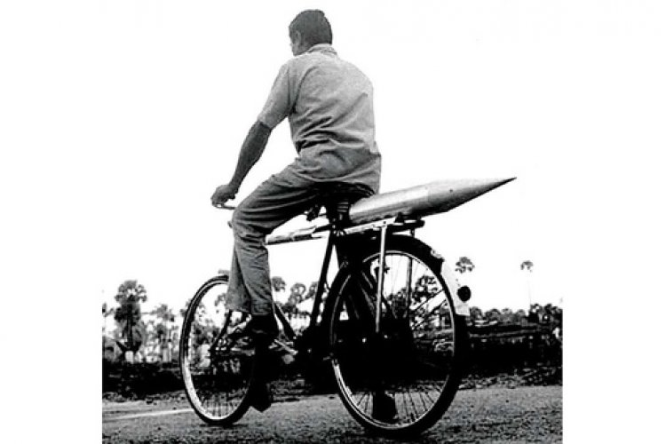 The first rocket was so thin and small that it was carried on a bicycle to the Thumba Launching Station in Thiruvananthapuram, Kerala.