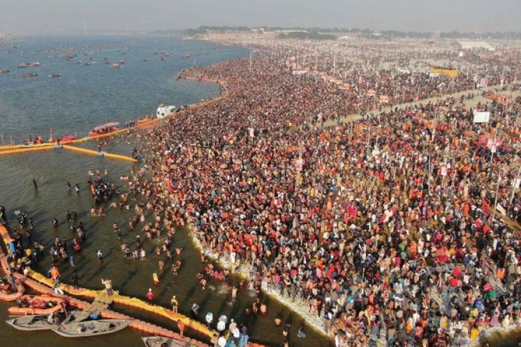 Kumbh Mela gathering noticeable from space. The 2011 Kumbh Mela was the biggest gathering of people with over 75 million pilgrims. The gathering was so enormous that the crowd was visible from space.