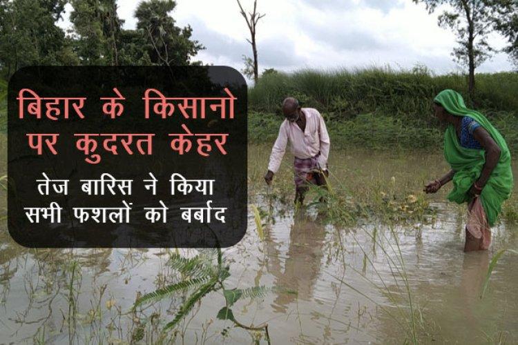 बिहार के किसानो पर कुदरत का केहर - तेज बारिस ने किया सभी फशलों को बर्बाद